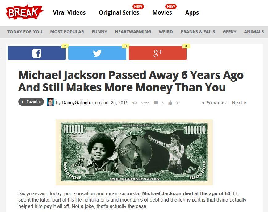 死から6年……なおも稼ぎ続けるマイケル・ジャクソンサムネイル画像