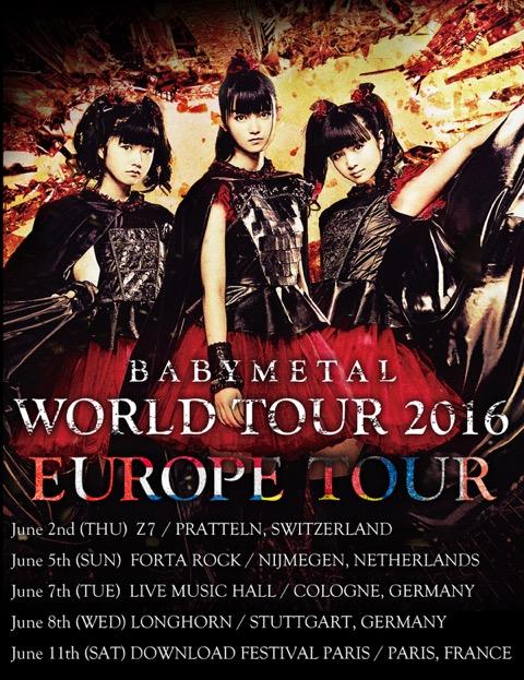 BABYMETAL、ヨーロッパツアー日程発表!最終公演は初の東京ドームサムネイル画像