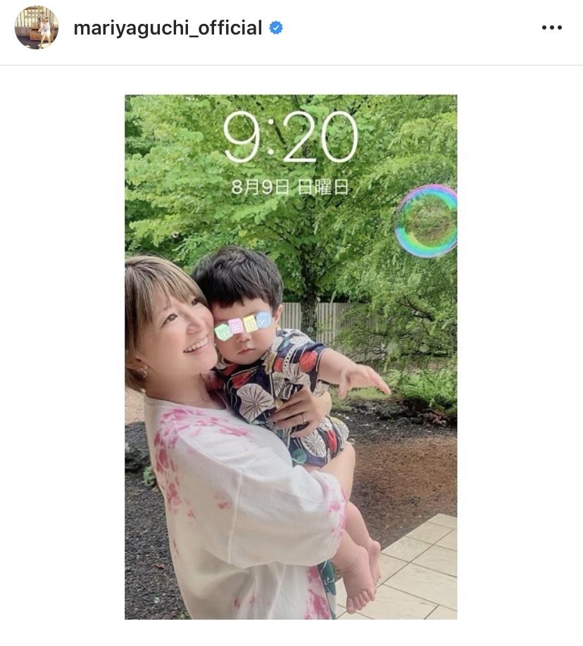 """矢口真里、息子の1歳の誕生日を報告&""""2SHOT待受画面""""公開に反響「ママの素敵な笑顔」"""